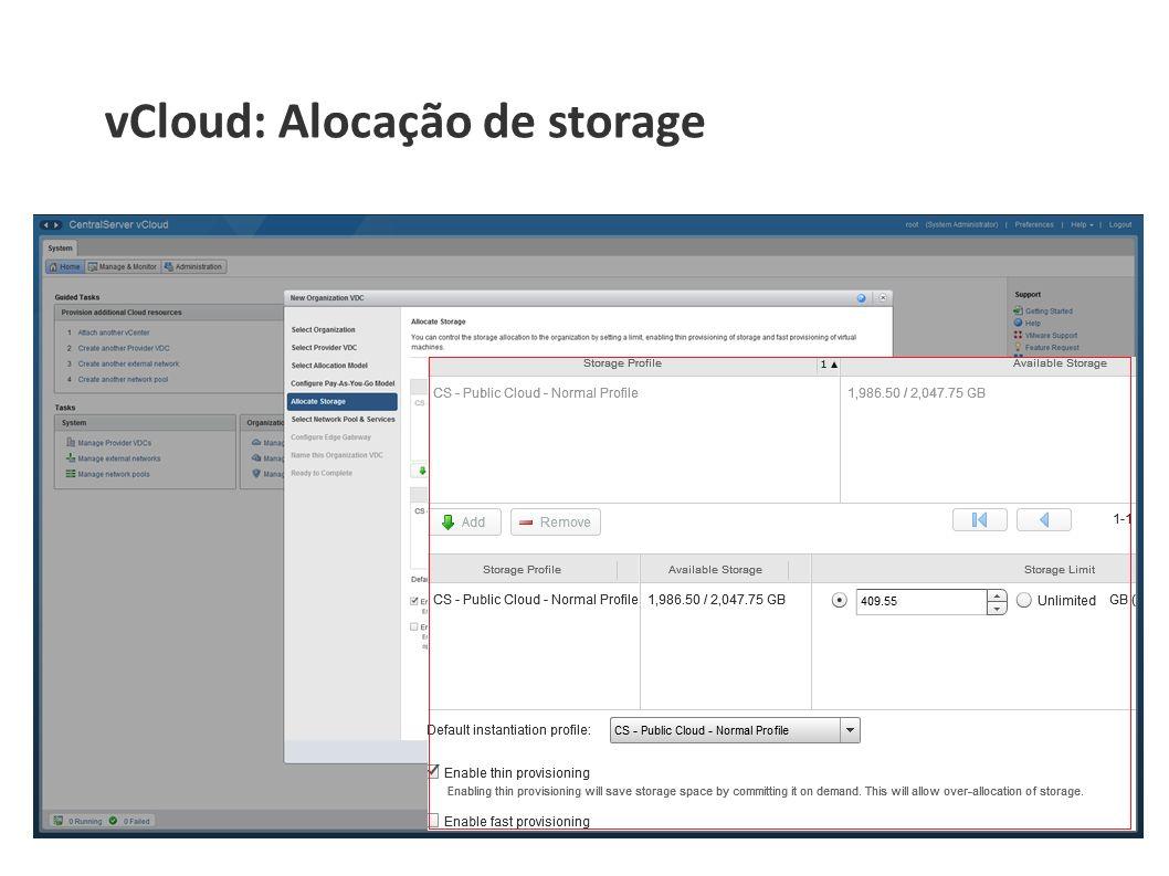 vCloud: Alocação de storage