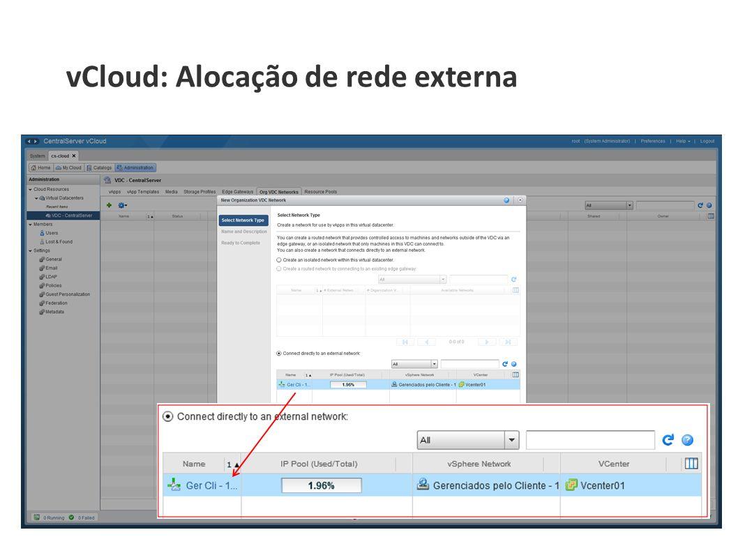 vCloud: Alocação de rede externa