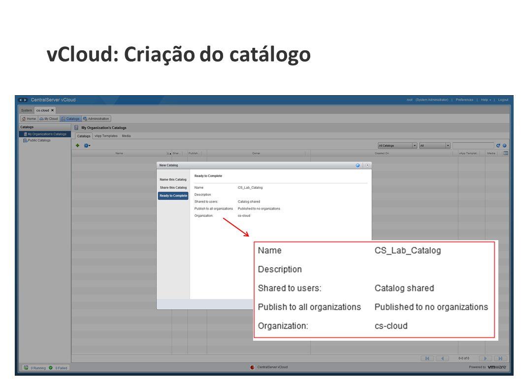 vCloud: Criação do catálogo