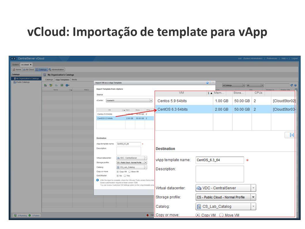 vCloud: Importação de template para vApp