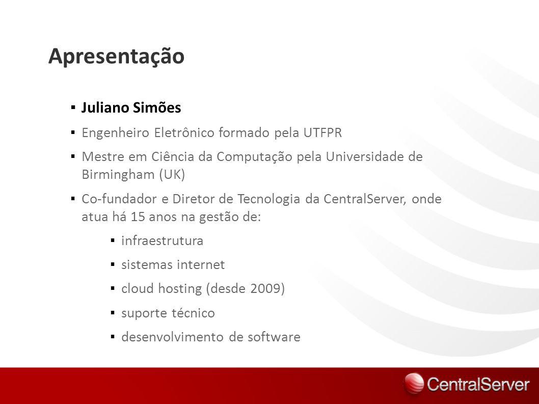 Apresentação Juliano Simões Engenheiro Eletrônico formado pela UTFPR Mestre em Ciência da Computação pela Universidade de Birmingham (UK) Co-fundador