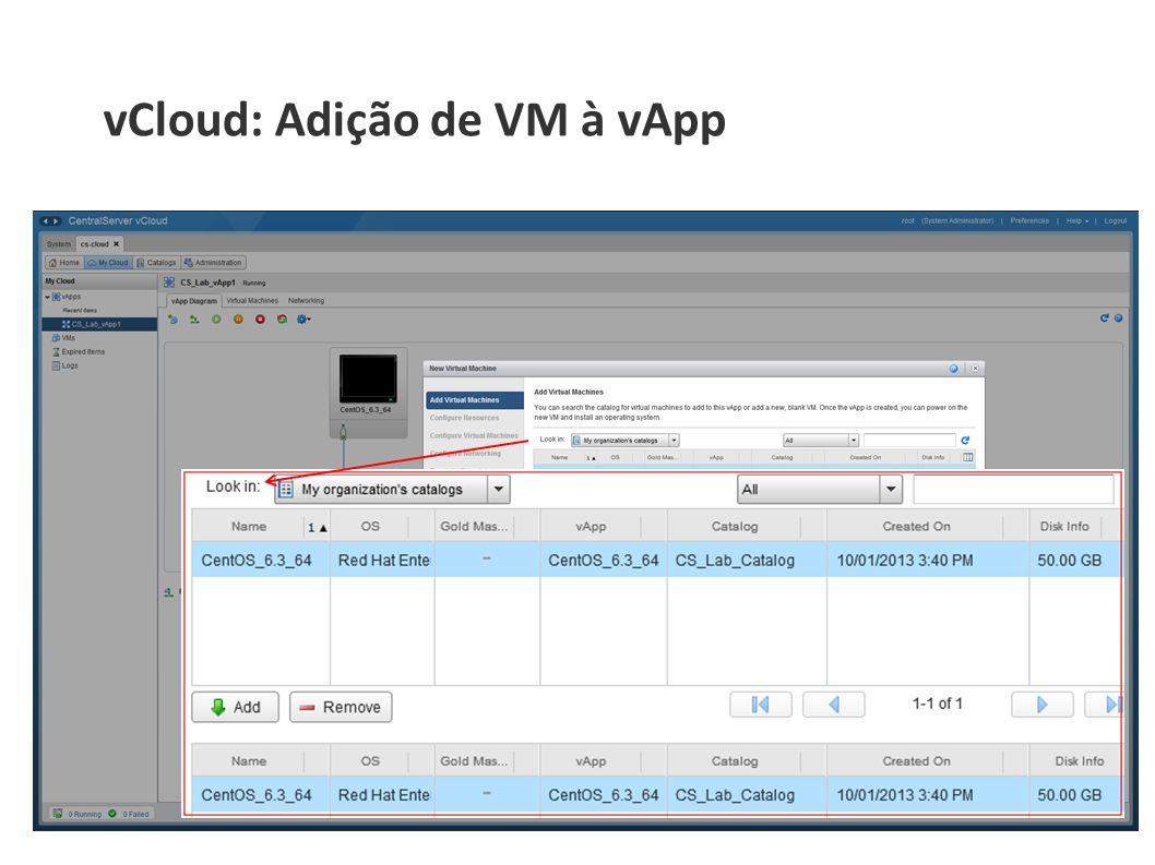 vCloud: Adição de VM à vApp