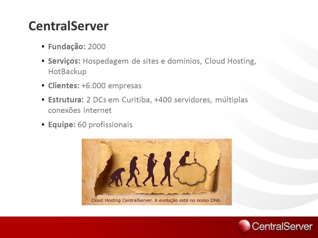 CentralServer Fundação: 2000 Serviços: Hospedagem de sites e domínios, Cloud Hosting, HotBackup Clientes: +6.000 empresas Estrutura: 2 DCs em Curitiba