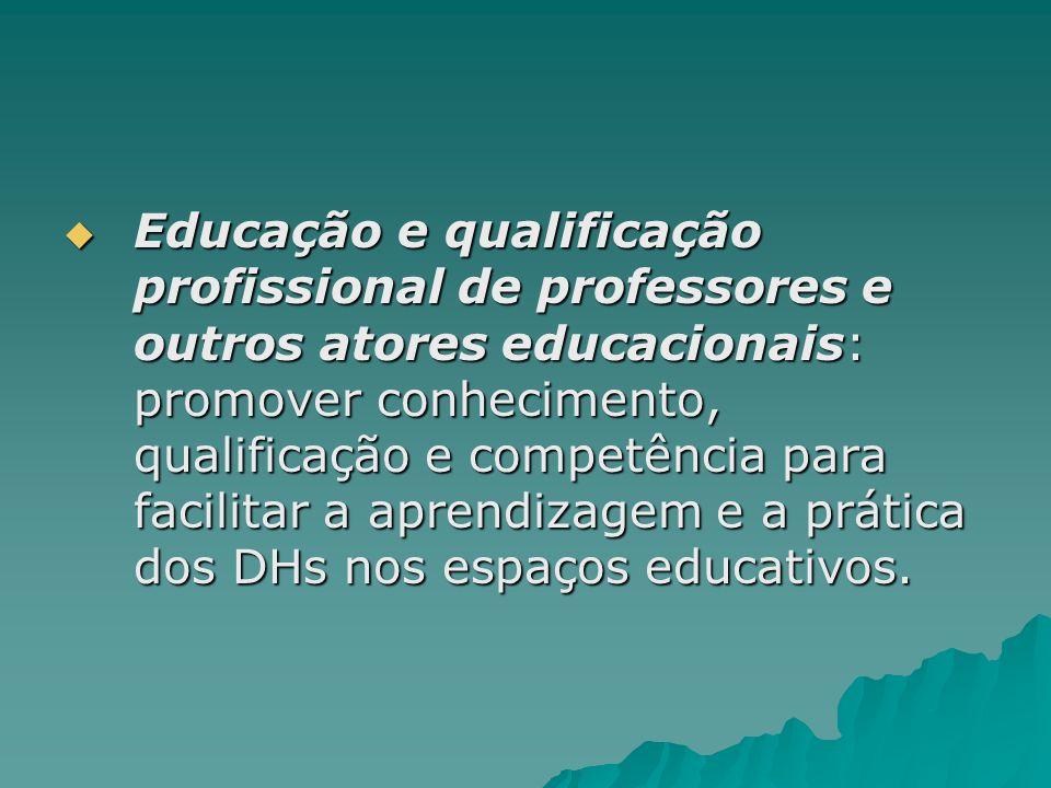 Educação e qualificação profissional de professores e outros atores educacionais: promover conhecimento, qualificação e competência para facilitar a a