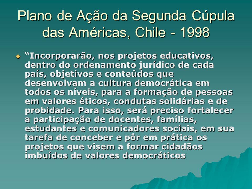 Plano de Ação da Segunda Cúpula das Américas, Chile - 1998 Incorporarão, nos projetos educativos, dentro do ordenamento jurídico de cada país, objetiv