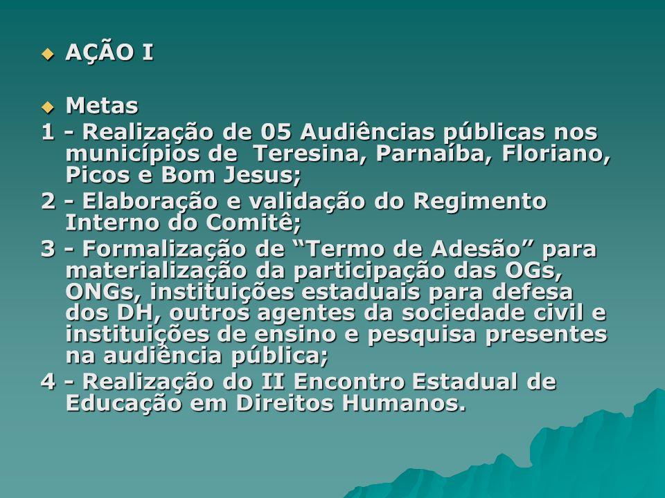 AÇÃO I AÇÃO I Metas Metas 1 - Realização de 05 Audiências públicas nos municípios de Teresina, Parnaíba, Floriano, Picos e Bom Jesus; 2 - Elaboração e