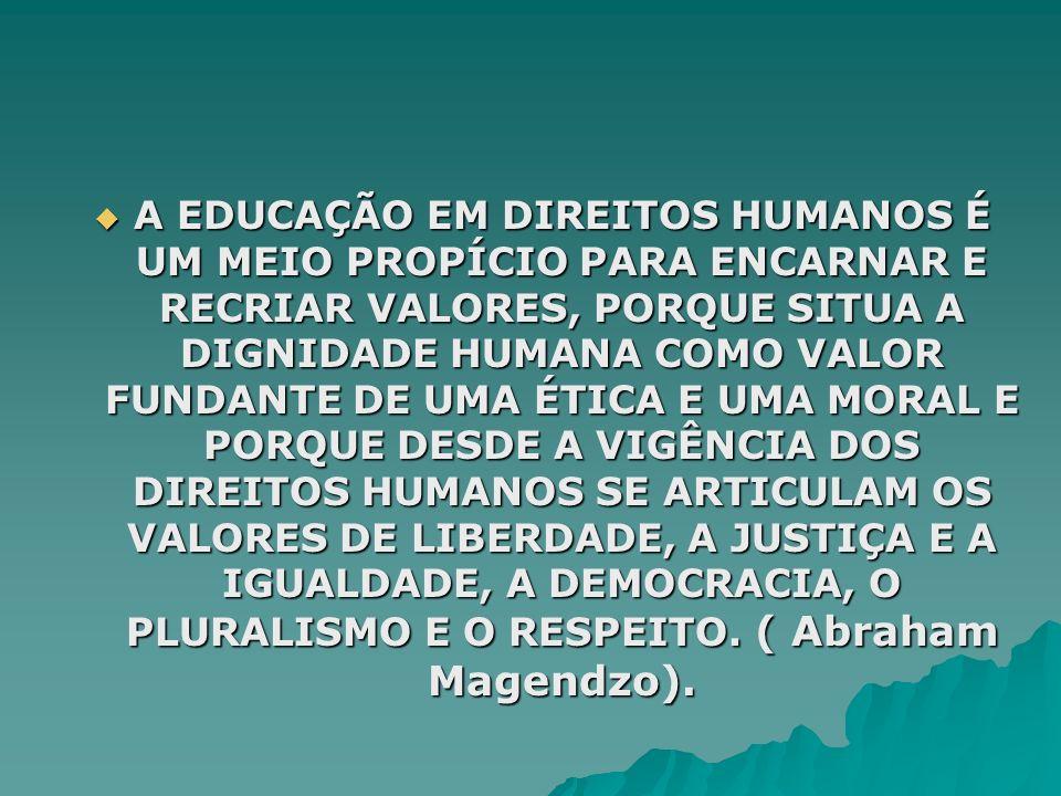 A EDUCAÇÃO EM DIREITOS HUMANOS É UM MEIO PROPÍCIO PARA ENCARNAR E RECRIAR VALORES, PORQUE SITUA A DIGNIDADE HUMANA COMO VALOR FUNDANTE DE UMA ÉTICA E