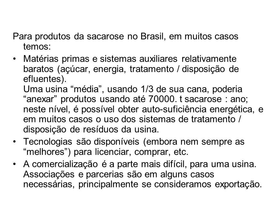 Para produtos da sacarose no Brasil, em muitos casos temos: Matérias primas e sistemas auxiliares relativamente baratos (açúcar, energia, tratamento /