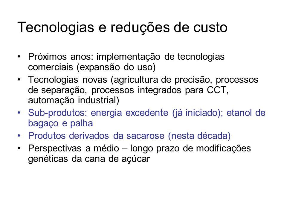 Tecnologias e reduções de custo Próximos anos: implementação de tecnologias comerciais (expansão do uso) Tecnologias novas (agricultura de precisão, p