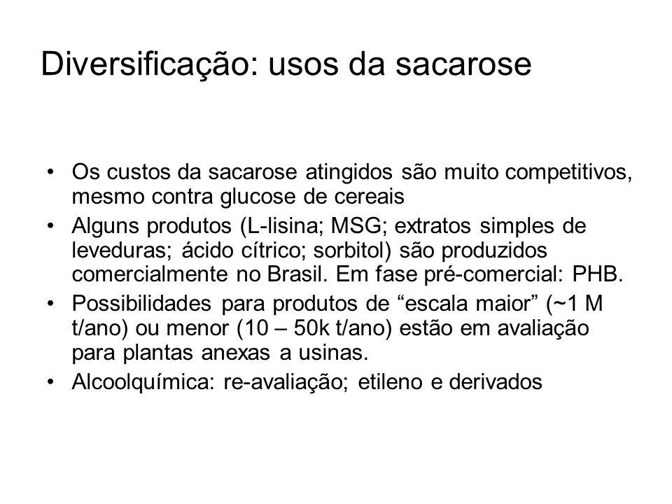 Diversificação: usos da sacarose Os custos da sacarose atingidos são muito competitivos, mesmo contra glucose de cereais Alguns produtos (L-lisina; MS