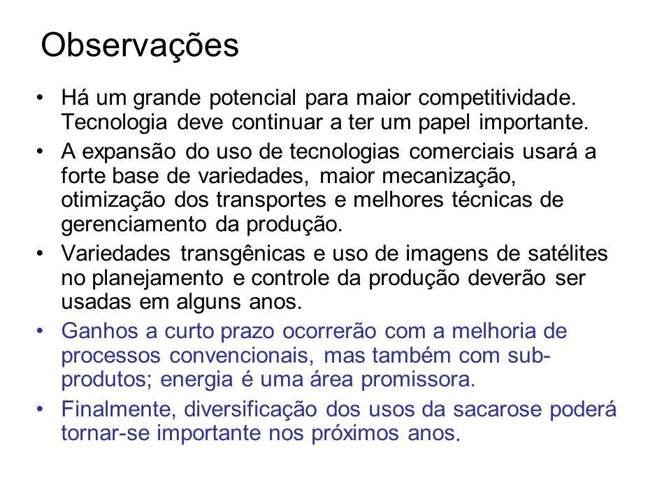 Outros produtos: material celulósico Cana de açúcar, Brasil, 2005: 60 M t sacarose; 120 M t material celulósico.