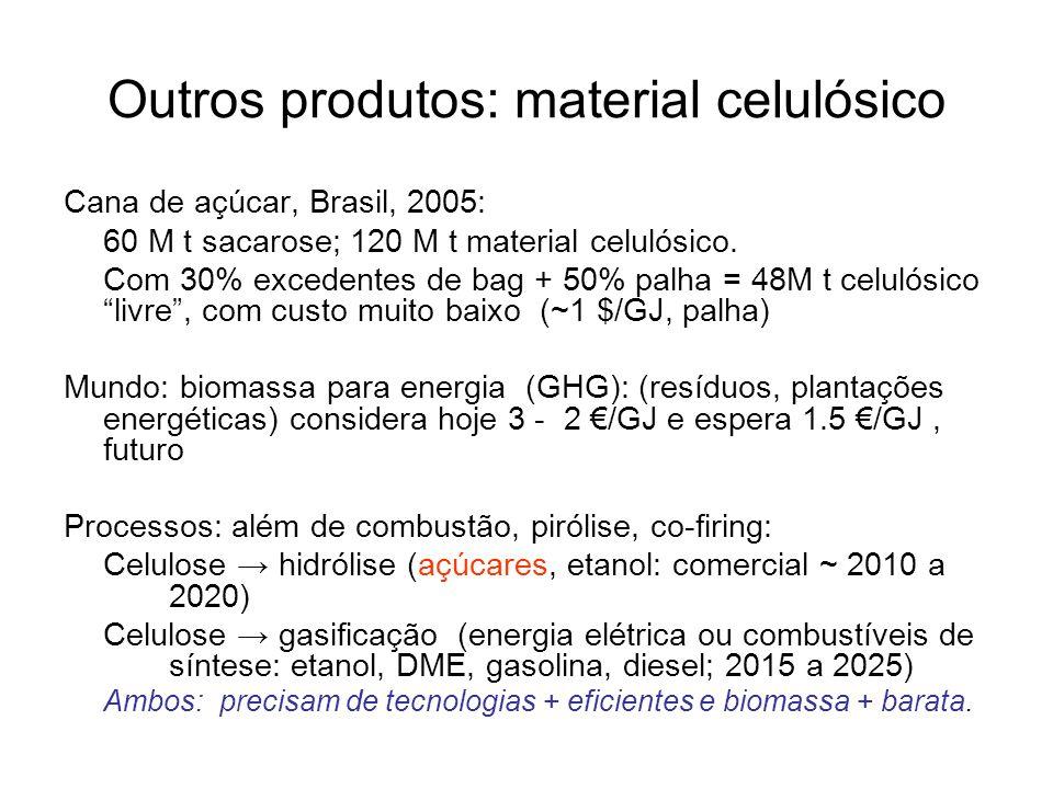 Outros produtos: material celulósico Cana de açúcar, Brasil, 2005: 60 M t sacarose; 120 M t material celulósico. Com 30% excedentes de bag + 50% palha