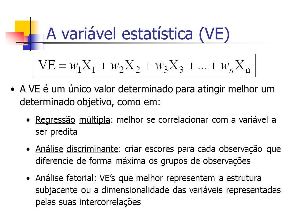 A variável estatística (VE) A VE é um único valor determinado para atingir melhor um determinado objetivo, como em: Regressão múltipla: melhor se corr