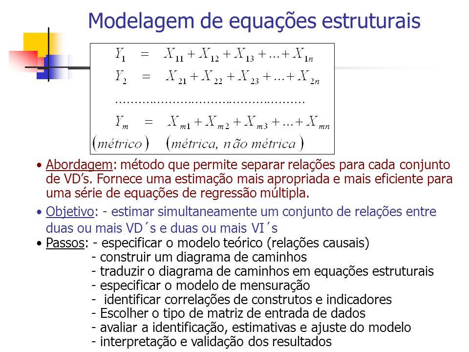 Modelagem de equações estruturais Abordagem: método que permite separar relações para cada conjunto de VDs. Fornece uma estimação mais apropriada e ma