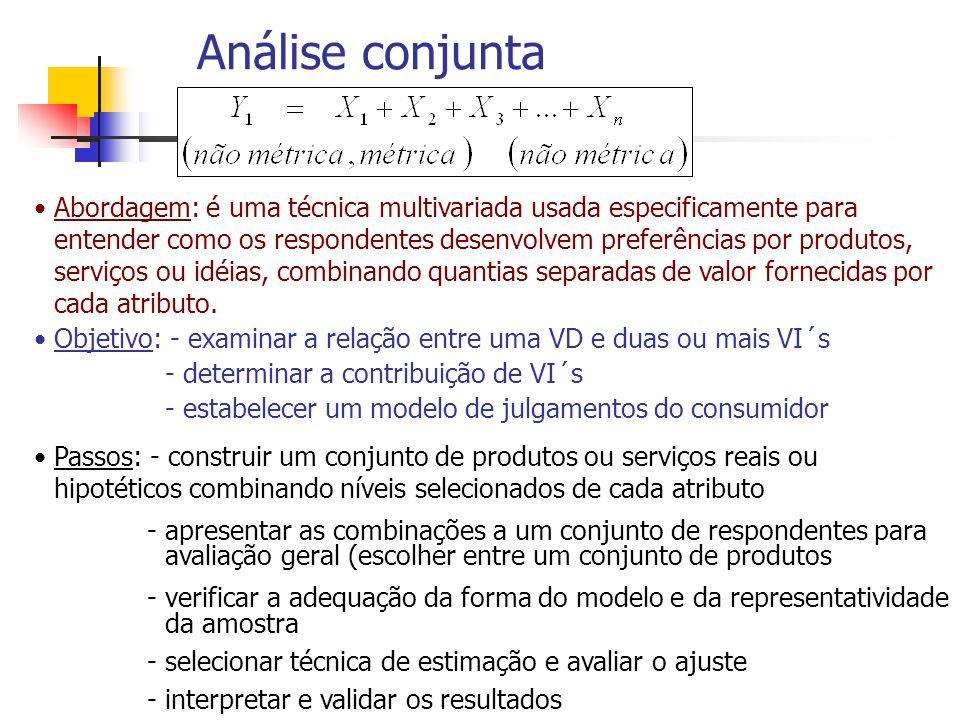 Análise conjunta Abordagem: é uma técnica multivariada usada especificamente para entender como os respondentes desenvolvem preferências por produtos,