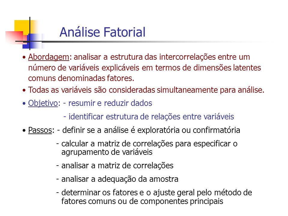 Análise Fatorial Abordagem: analisar a estrutura das intercorrelações entre um número de variáveis explicáveis em termos de dimensões latentes comuns