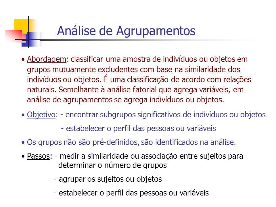 Análise de Agrupamentos Abordagem: classificar uma amostra de indivíduos ou objetos em grupos mutuamente excludentes com base na similaridade dos indi