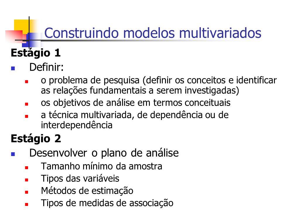 Construindo modelos multivariados Estágio 1 Definir: o problema de pesquisa (definir os conceitos e identificar as relações fundamentais a serem inves