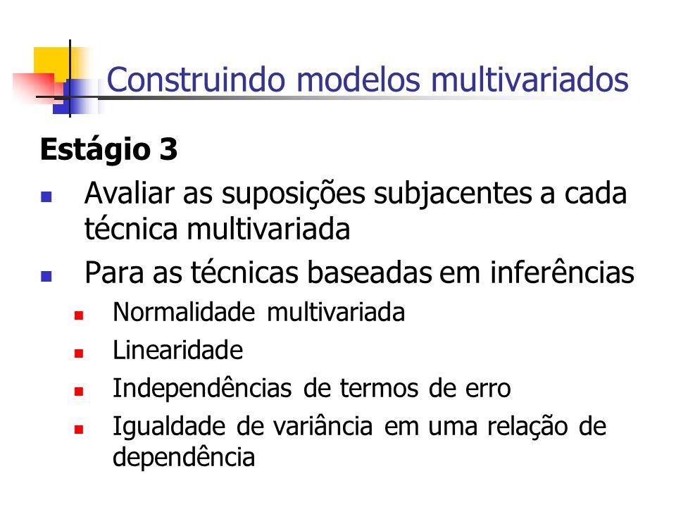 Construindo modelos multivariados Estágio 3 Avaliar as suposições subjacentes a cada técnica multivariada Para as técnicas baseadas em inferências Nor