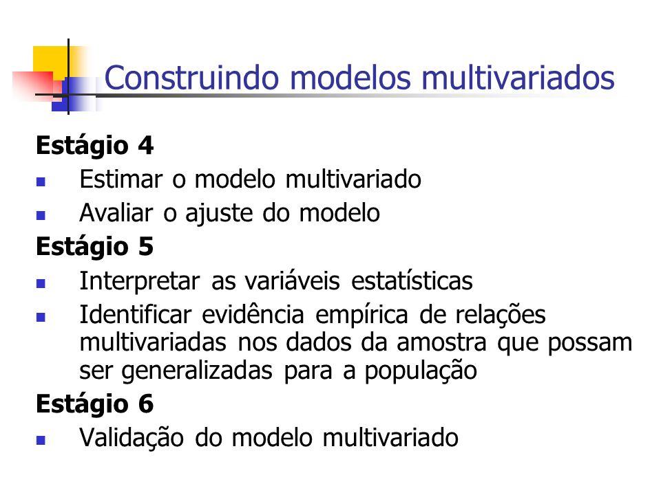 Construindo modelos multivariados Estágio 4 Estimar o modelo multivariado Avaliar o ajuste do modelo Estágio 5 Interpretar as variáveis estatísticas I
