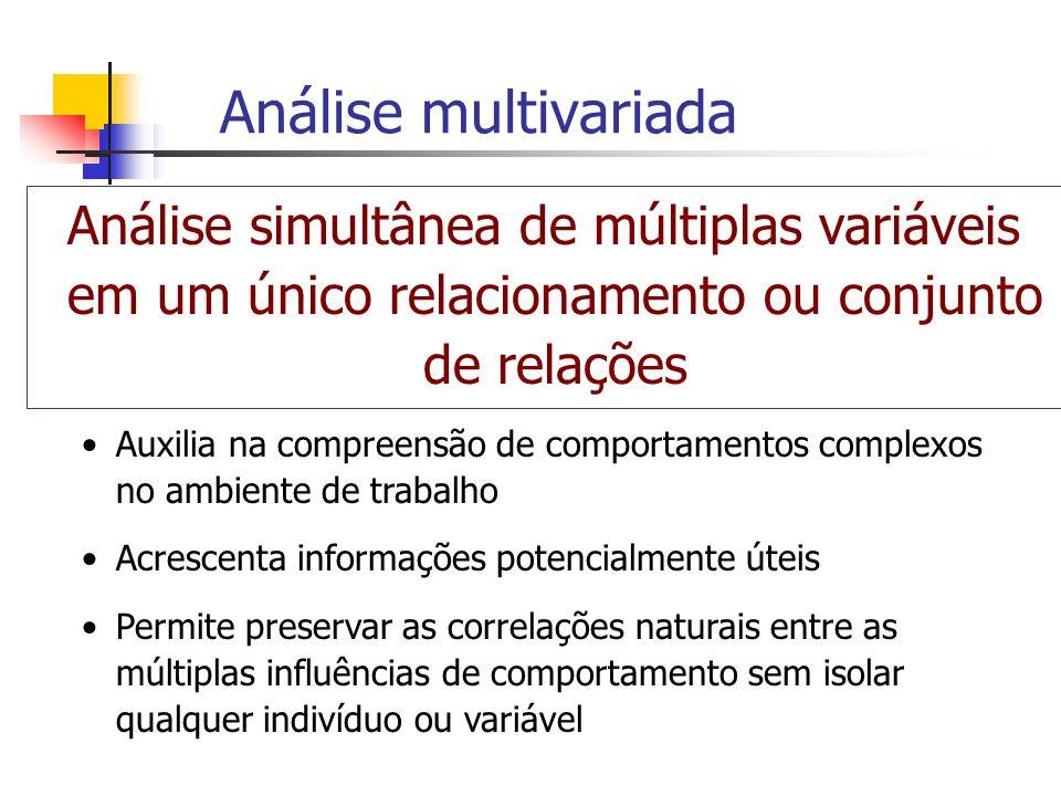 Análise multivariada Todas as variáveis devem ser aleatórias e inter- relacionadas Diferentes efeitos das variáveis não podem ser interpretados de forma separada Tem o propósito de medir, explicar e prever o grau de relacionamento entre combinações ponderadas de variáveis Consiste em combinações múltiplas de variáveis Inclui técnicas de múltiplas variáveis