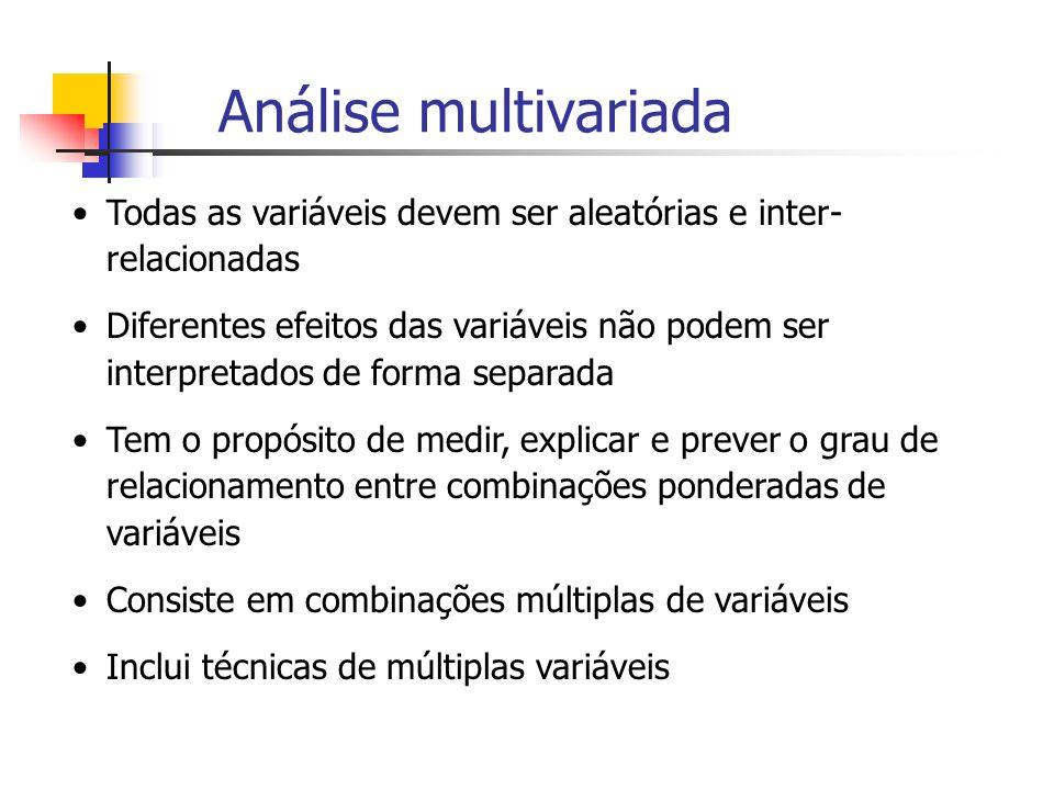Análise multivariada Todas as variáveis devem ser aleatórias e inter- relacionadas Diferentes efeitos das variáveis não podem ser interpretados de for