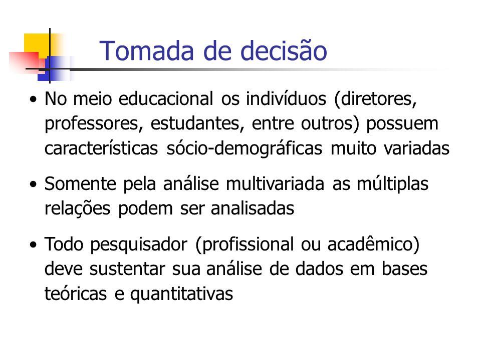 Tomada de decisão No meio educacional os indivíduos (diretores, professores, estudantes, entre outros) possuem características sócio-demográficas muit