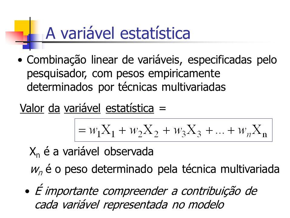 A variável estatística (VE) A VE é um único valor determinado para atingir melhor um determinado objetivo, como em: Regressão múltipla: melhor se correlacionar com a variável a ser predita Análise discriminante: criar escores para cada observação que diferencie de forma máxima os grupos de observações Análise fatorial: VEs que melhor representem a estrutura subjacente ou a dimensionalidade das variáveis representadas pelas suas intercorrelações