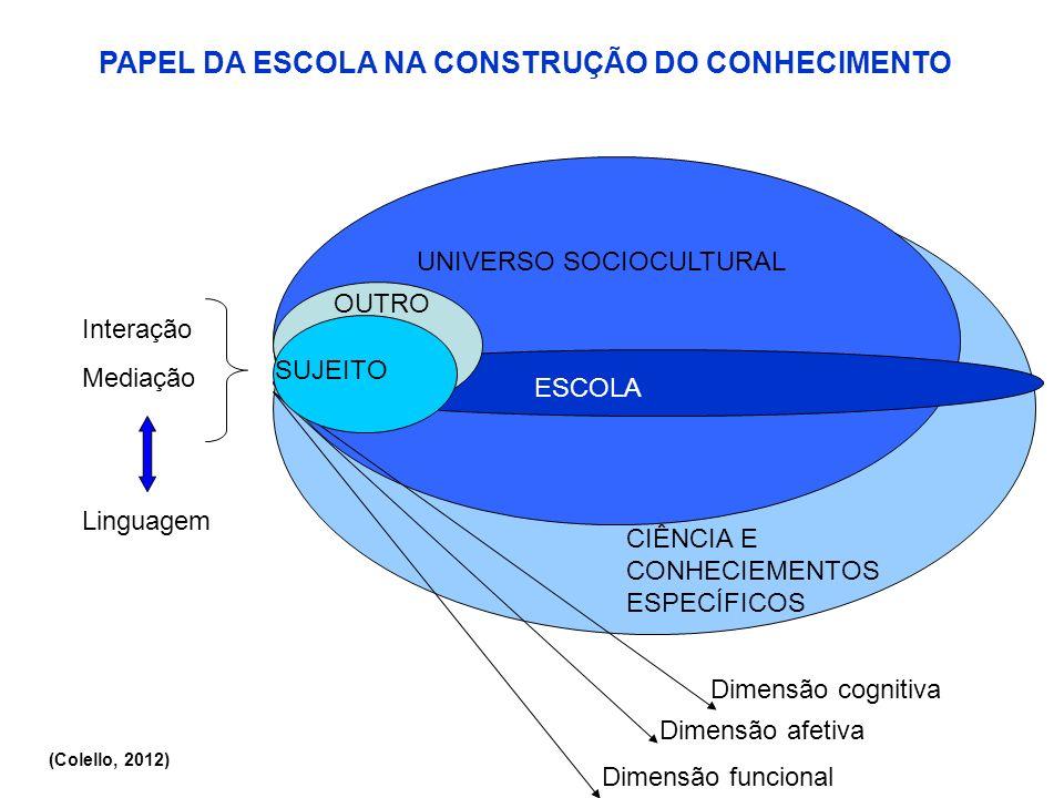 CIÊNCIA E CONHECIEMENTOS ESPECÍFICOS UNIVERSO SOCIOCULTURAL ESCOLA ALUNO PAPEL DA ESCOLA NA CONSTRUÇÃO DO CONHECIMENTO Dimensão cognitiva Dimensão afe