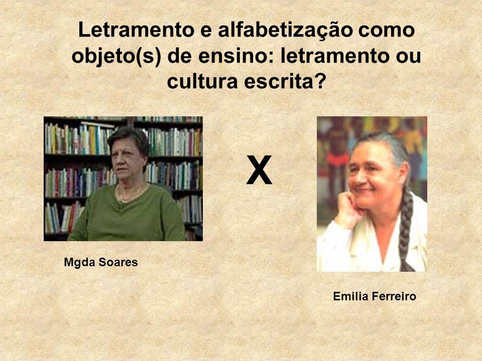 Letramento e alfabetização como objeto(s) de ensino: letramento ou cultura escrita? Mgda Soares Emilia Ferreiro X