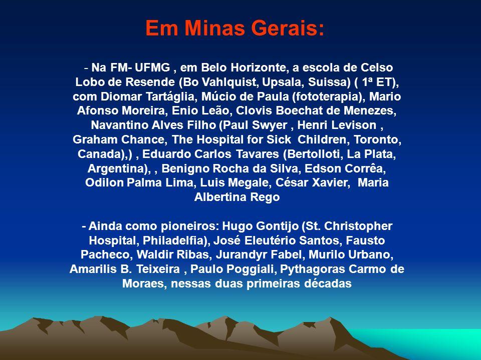 Em Minas Gerais: - Na FM- UFMG, em Belo Horizonte, a escola de Celso Lobo de Resende (Bo Vahlquist, Upsala, Suissa) ( 1ª ET), com Diomar Tartáglia, Mú