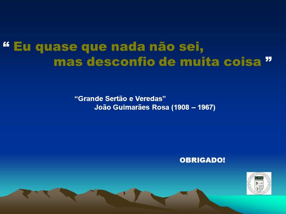 Eu quase que nada não sei, mas desconfio de muita coisa OBRIGADO! Grande Sertão e Veredas João Guimarães Rosa (1908 – 1967)