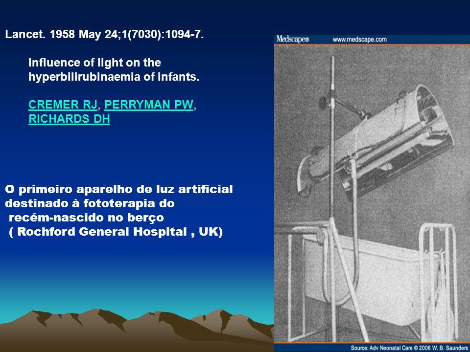 O primeiro aparelho de luz artificial destinado à fototerapia do recém-nascido no berço ( Rochford General Hospital, UK) Lancet. 1958 May 24;1(7030):1