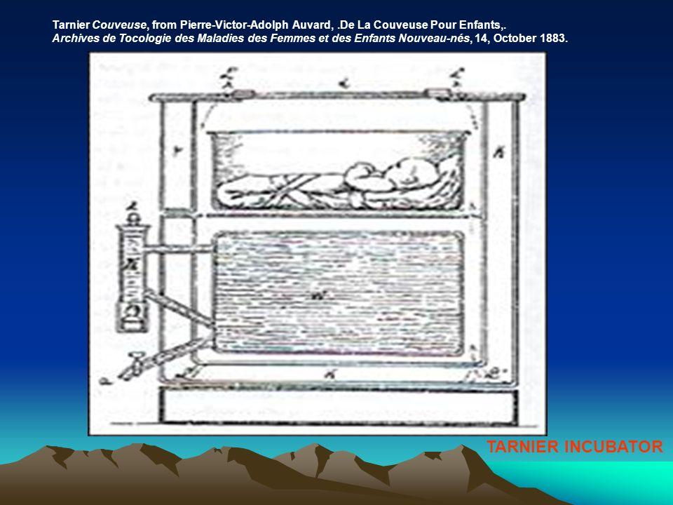TARNIER INCUBATOR Tarnier Couveuse, from Pierre-Victor-Adolph Auvard,.De La Couveuse Pour Enfants,. Archives de Tocologie des Maladies des Femmes et d