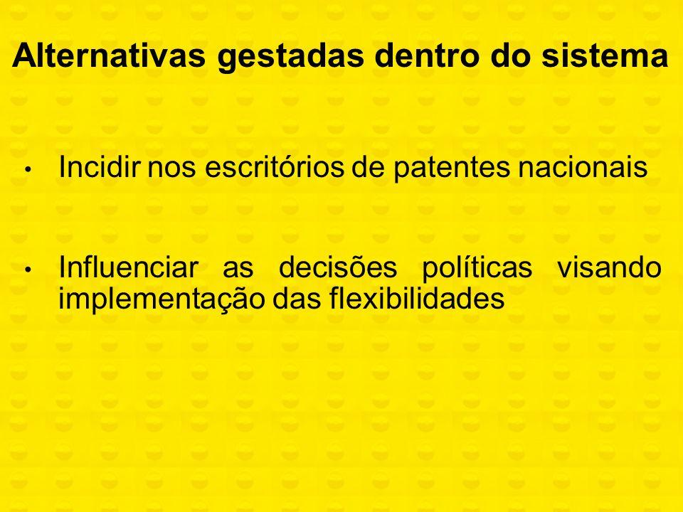 Incidir nos escritórios de patentes nacionais Influenciar as decisões políticas visando implementação das flexibilidades Alternativas gestadas dentro