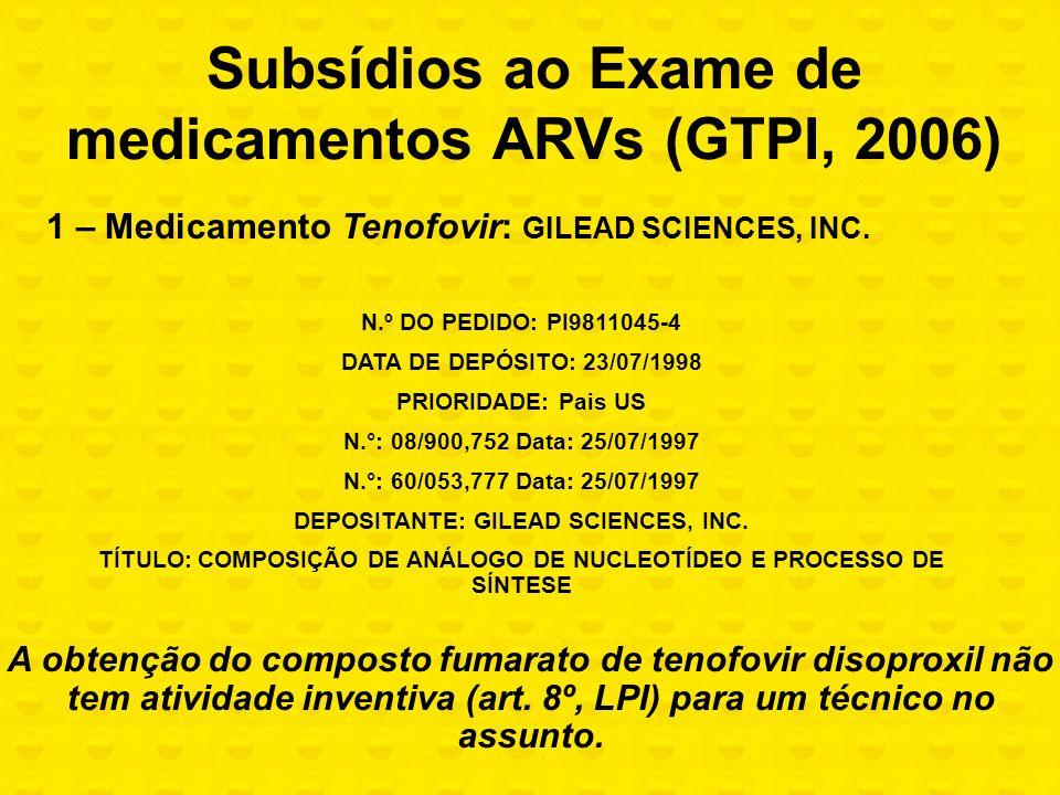 1 – Medicamento Tenofovir: GILEAD SCIENCES, INC. N.º DO PEDIDO: PI9811045-4 DATA DE DEPÓSITO: 23/07/1998 PRIORIDADE: Pais US N.°: 08/900,752 Data: 25/
