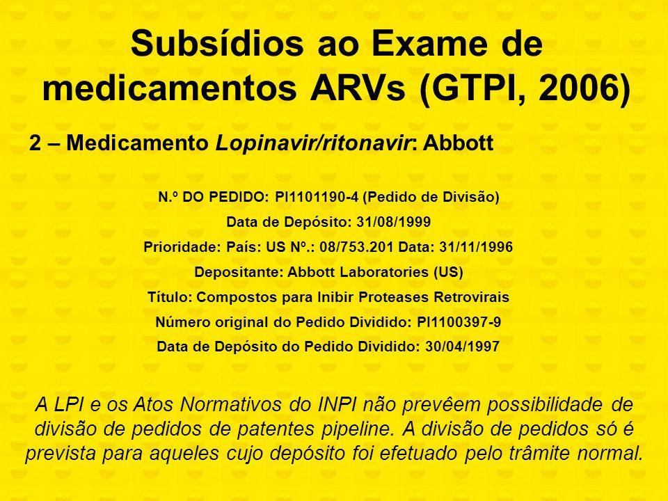 2 – Medicamento Lopinavir/ritonavir: Abbott N.º DO PEDIDO: PI1101190-4 (Pedido de Divisão) Data de Depósito: 31/08/1999 Prioridade: País: US Nº.: 08/7
