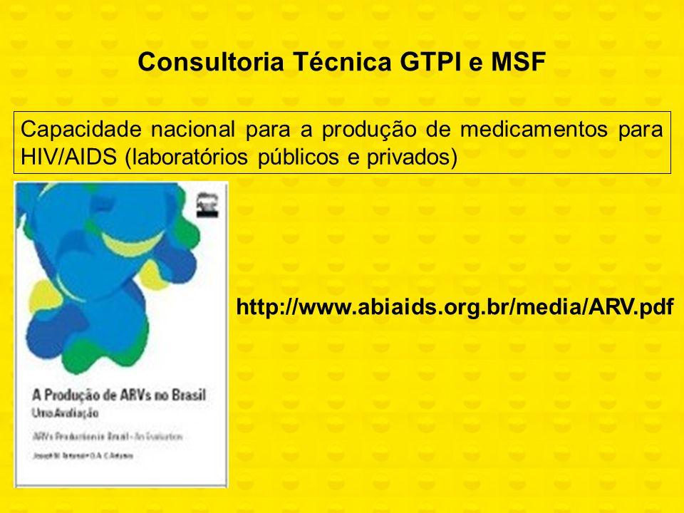 Capacidade nacional para a produção de medicamentos para HIV/AIDS (laboratórios públicos e privados) Consultoria Técnica GTPI e MSF http://www.abiaids