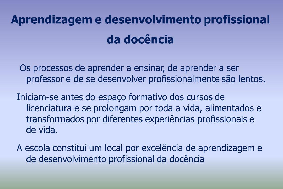 Aprendizagem e desenvolvimento profissional da docência Os processos de aprender a ensinar, de aprender a ser professor e de se desenvolver profission