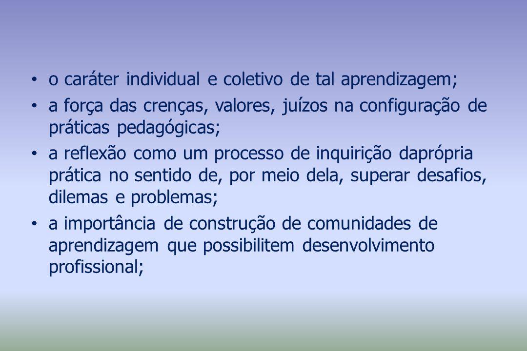 o caráter individual e coletivo de tal aprendizagem; a força das crenças, valores, juízos na configuração de práticas pedagógicas; a reflexão como um
