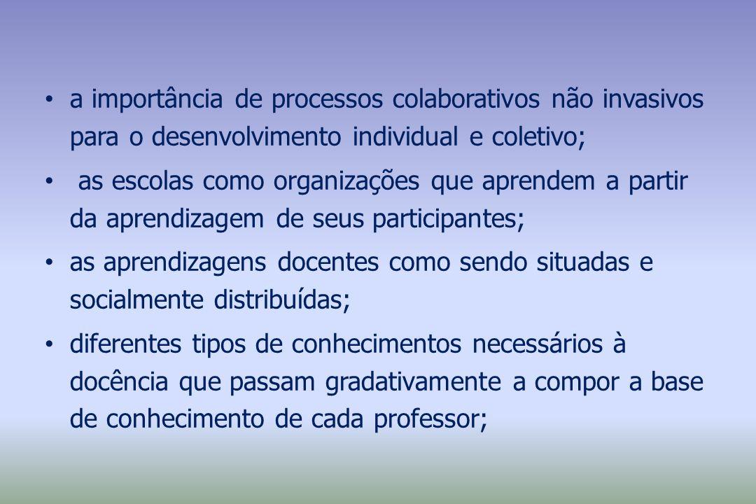 a importância de processos colaborativos não invasivos para o desenvolvimento individual e coletivo; as escolas como organizações que aprendem a parti