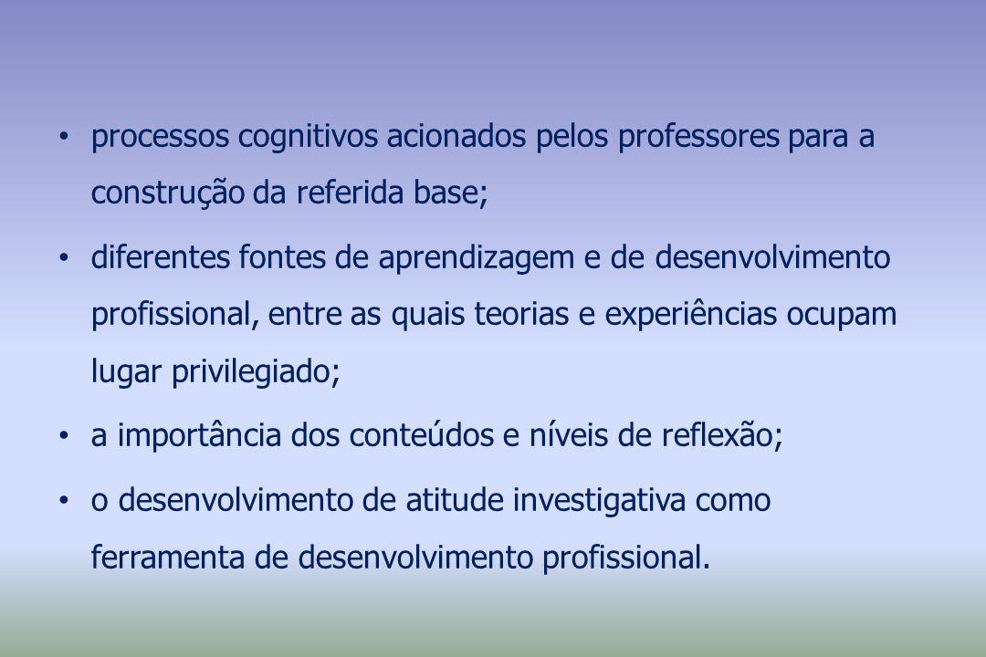 processos cognitivos acionados pelos professores para a construção da referida base; diferentes fontes de aprendizagem e de desenvolvimento profission
