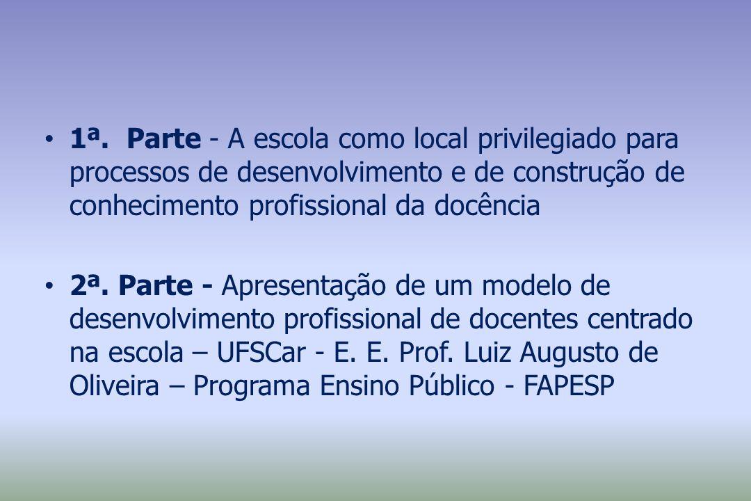 1ª. Parte - A escola como local privilegiado para processos de desenvolvimento e de construção de conhecimento profissional da docência 2ª. Parte - Ap