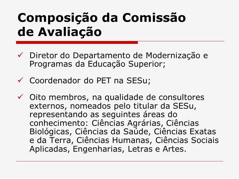 Composição da Comissão de Avaliação Diretor do Departamento de Modernização e Programas da Educação Superior; Coordenador do PET na SESu; Oito membros