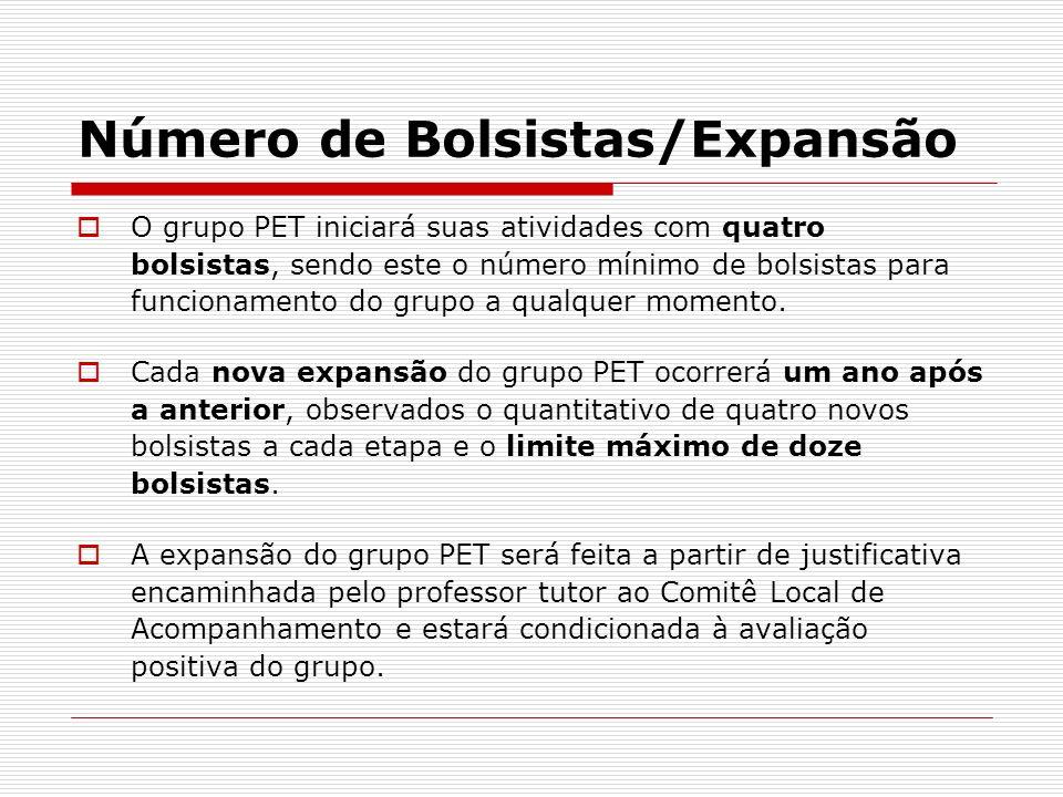 Número de Bolsistas/Expansão O grupo PET iniciará suas atividades com quatro bolsistas, sendo este o número mínimo de bolsistas para funcionamento do