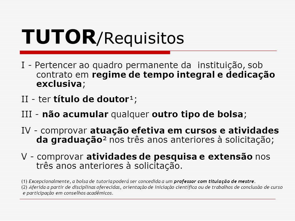 TUTOR /Requisitos I - Pertencer ao quadro permanente da instituição, sob contrato em regime de tempo integral e dedicação exclusiva; II - ter título d