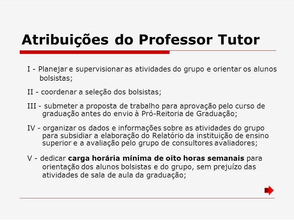 Atribuições do Professor Tutor I - Planejar e supervisionar as atividades do grupo e orientar os alunos bolsistas; II - coordenar a seleção dos bolsis