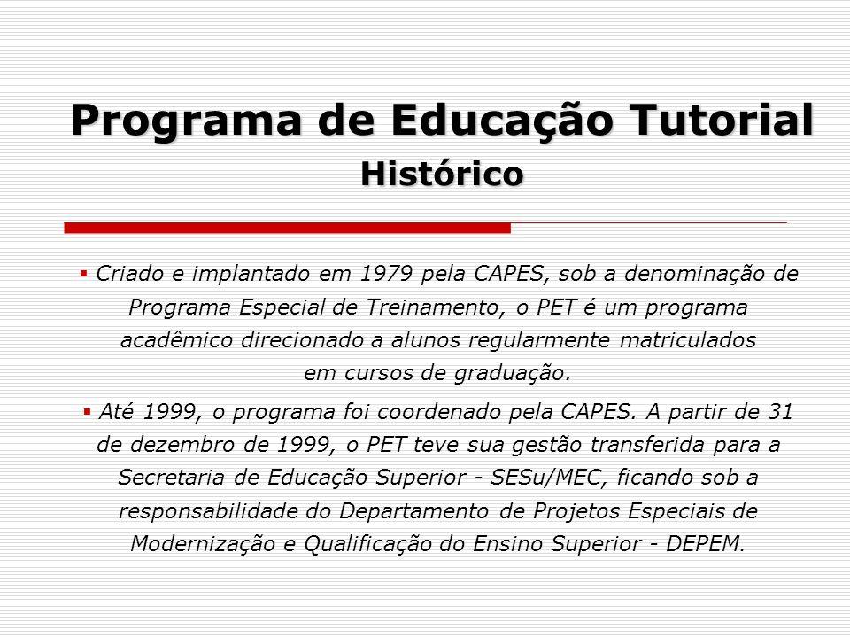 Programa de Educação Tutorial Histórico Criado e implantado em 1979 pela CAPES, sob a denominação de Programa Especial de Treinamento, o PET é um prog
