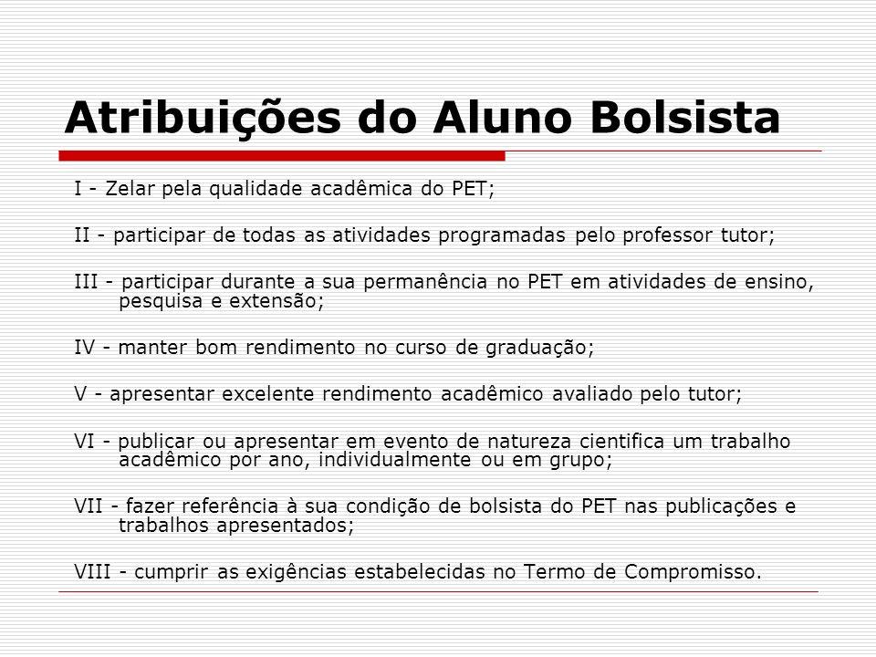 Atribuições do Aluno Bolsista I - Zelar pela qualidade acadêmica do PET; II - participar de todas as atividades programadas pelo professor tutor; III
