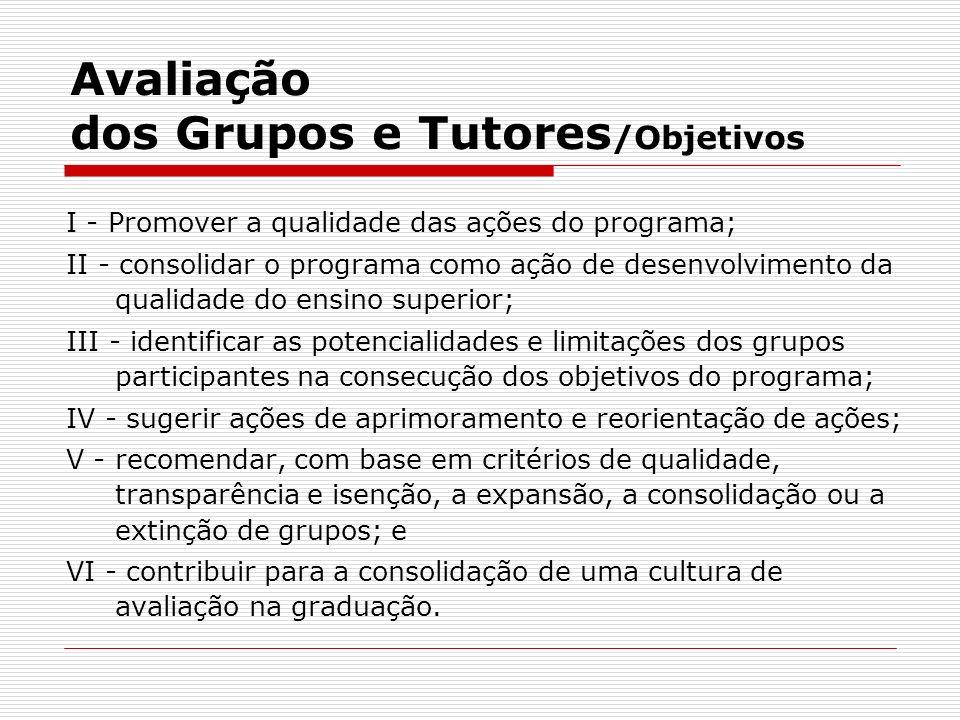 Avaliação dos Grupos e Tutores /Objetivos I - Promover a qualidade das ações do programa; II - consolidar o programa como ação de desenvolvimento da q